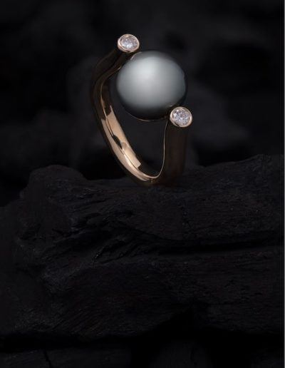 Bague Harpe - perle de Tahiti & Diamants