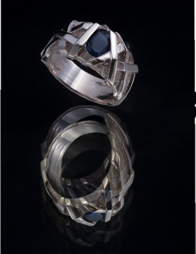 Bague Homme Spartiate - Saphir Ceylan & Or blanc