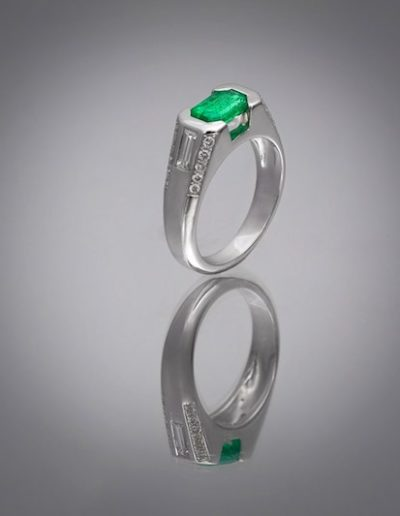 Bague Keops - Emeraude & Diamants