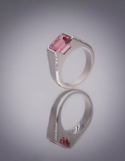 Bague Keops - Tourmaline rose & Diamants