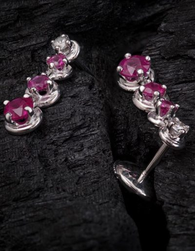 Boucles d'Oreilles Rubis & Diamants
