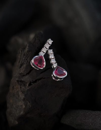 Boucles d'oreilles Or blanc - Rubellites & Diamants