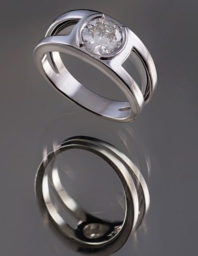 Solitaire Diamant - Or blanc double corps