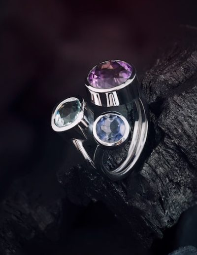Trilogie Or blanc - Améthyste, Tanzanite & Aigue-Marine