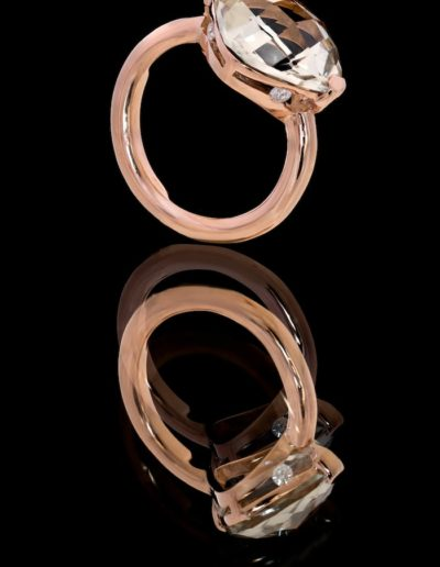 Bague Prasiolite - Or rose & diamants