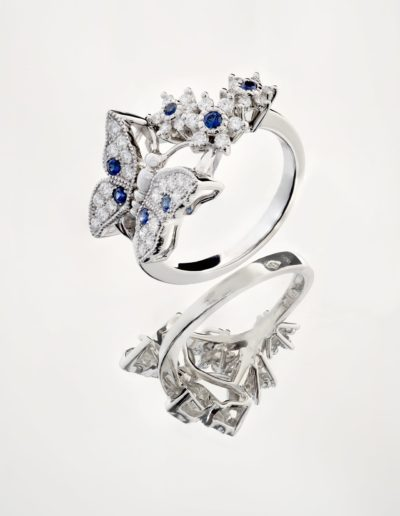 Bague Papillon - Saphirs _ Diamants