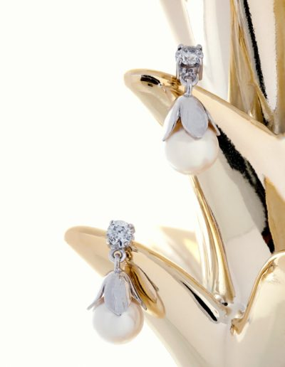Boucles d'oreilles - Or blanc, Perles Akoya & Diamants